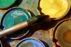 Paints and childish painting equipment, Watercolors and brushes, water color paints Stock Photography