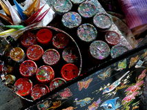 Paints and Color. Colorful display of paints to be used for art projects Royalty Free Stock Image