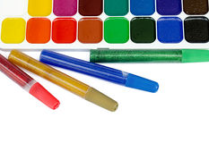 Paints and color glue Royalty Free Stock Photography