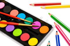 Paints and color pencils Royalty Free Stock Photo