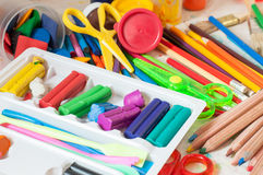 Paints, crayons, colored pencils, modeling clay. And other tools for drawing and creation Royalty Free Stock Photography