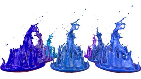 Paints dance on white background. Simulation of 3d splashes of ink on a musical speaker that play music. beautiful. Splashes as a bright background in ultra Stock Images