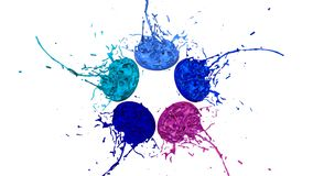 Paints dance on white background. Simulation of 3d splashes of ink on a musical speaker that play music. beautiful. Splashes as a bright background in ultra Stock Photos