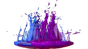 Paints dance on white background. Simulation of 3d splashes of ink on a musical speaker that play music. beautiful. Splashes as a bright background in ultra Stock Photography