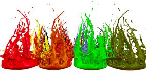 Paints dance on white background. Simulation of 3d splashes of ink on a musical speaker that play music. beautiful. Splashes in ultra high quality Stock Photo