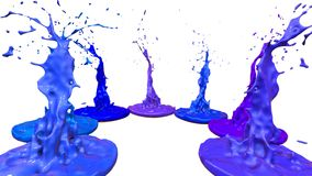 Paints dance on white background. Simulation of 3d splashes of ink on a musical speaker that play music. beautiful. Splashes in ultra high quality Stock Photography