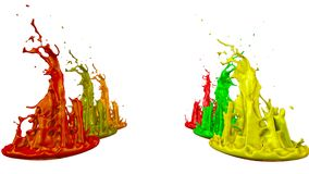 Paints dance on white background. Simulation of 3d splashes of ink on a musical speaker that play music. beautiful. Splashes in ultra high quality Royalty Free Stock Photos