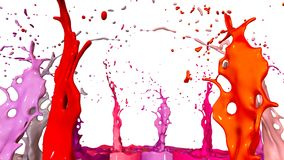 Paints dance on white background. Simulation of 3d splashes of ink on a musical speaker that play music. beautiful. Splashes in ultra high quality Stock Image