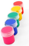 Paints of different colors and slim paintbrush Stock Photos