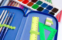 paints and felt-tip pens for the school student Royalty Free Stock Images