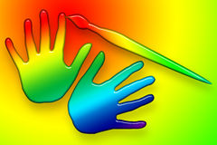 Paints Hands Over. Brush coloring hands, bright funny illustration over colorful background Stock Photography