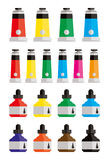 Paints and Ink Bottles Stock Photos
