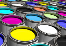 Paints of many colors tilted Royalty Free Stock Photos