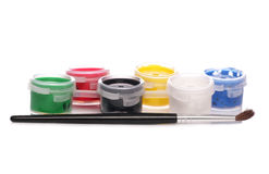 Paints and paint brush stock photos