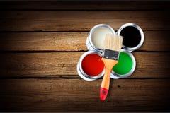 Paints. Paint Can Hardware Store Can Paintbrush Moving House Descriptive Color stock image