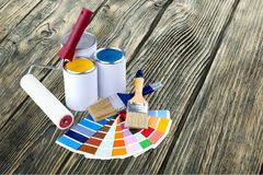 Paints. Paint Can Paintbrush Home Improvement Color Image Descriptive Color Color Swatch stock image