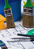 Paints and paint repair on the architectural plan Royalty Free Stock Images