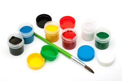 Paints with a paintbrush Royalty Free Stock Photo