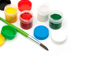 Paints with a paintbrush Stock Photos