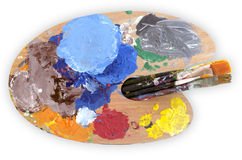 Paints and Paintbrushes Royalty Free Stock Photography