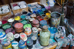 Paints and paintbrushes Royalty Free Stock Images