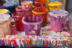 Paints in a painter's studio Stock Photos