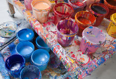 Paints in a painter's studio Royalty Free Stock Photo