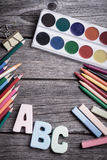 Paints and pencils Royalty Free Stock Photos
