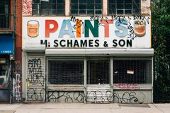 Paints sign in the Lower East Side, Manhattan, New York City.  royalty free stock image