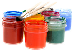 Paints and small brushes Royalty Free Stock Photo