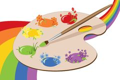 Paints of spring with rainbow. Stock Photo