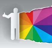 Paints swatch promotion background. Paper silhouette of man ripping paper with color swatch. Concept for presenting of paints, print colors.Vector available Stock Photo