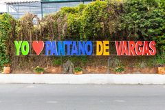 Paipa Colombia Pantano av det Vargas f?r?lskelsetecknet royaltyfria foton
