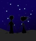 Pair. Love pair in star night Stock Photography