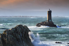 Pair. Unreal scene with two lighthouses before a stromy night, high density range image Stock Photo