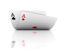 Pair of aces. On white. 3D Rendering Stock Photos
