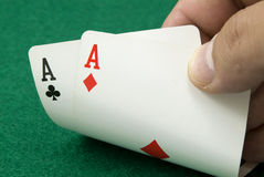 Pair of aces. Holding a pair of aces, poker Stock Photography