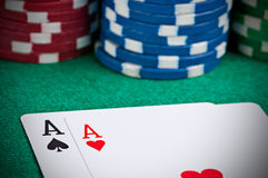 Pair of Aces. On a poker table with poker chips next to them Royalty Free Stock Images