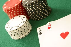Pair of Aces. Paie of aces and stacks of poker chips up close, selective focus Stock Photography
