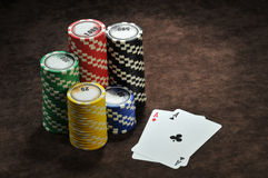 A pair of aces and chips Royalty Free Stock Photography