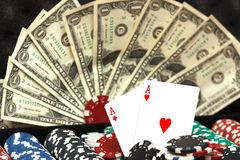 Pair of aces with chips and money on background Stock Images