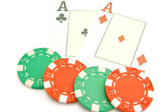 Pair of aces and chips Stock Images