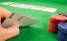 A pair of aces in a hand Stock Photo