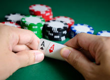 Pair of aces. Hand show pair of aces chance of winning stock image