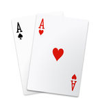 Pair of aces isolated Royalty Free Stock Images