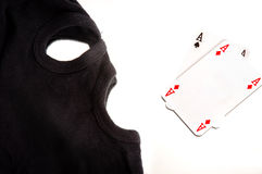 A pair of aces with a mask Royalty Free Stock Image