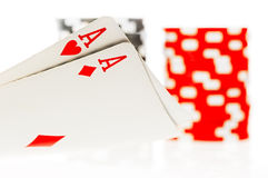 Pair of aces poker Stock Photography