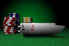 Pair of Aces and Poker Chips Stock Photos