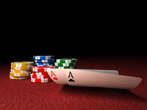 Pair of Aces and Poker Chips Royalty Free Stock Image