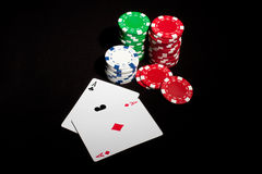 Pair of Aces and Poker Chips Stock Image